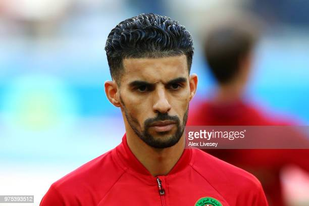 Mbark Boussoufa of Morocco looks on ahead of the 2018 FIFA World Cup Russia group B match between Morocco and Iran at Saint Petersburg Stadium on...