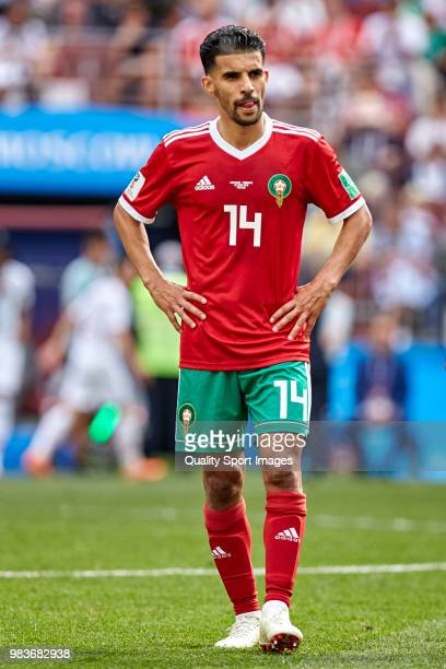 Mbark Boussoufa of Morocco looks on during the 2018 FIFA World Cup Russia group B match between Portugal and Morocco at Luzhniki Stadium on June 20...