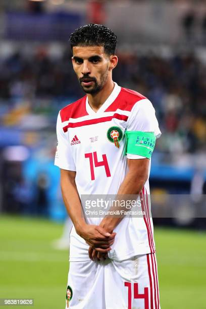 Mbark Boussoufa of Morocco looks on during the 2018 FIFA World Cup Russia group B match between Spain and Morocco at Kaliningrad Stadium on June 25...