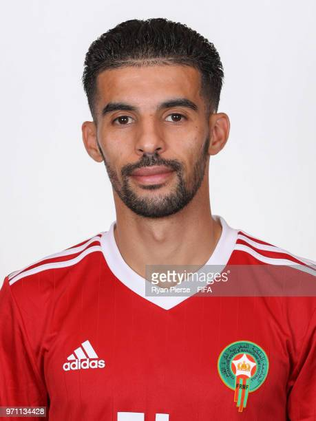 Mbark Boussoufa of Morocco poses during the official FIFA World Cup 2018 portrait session on June 10 2018 in Voronezh Russia