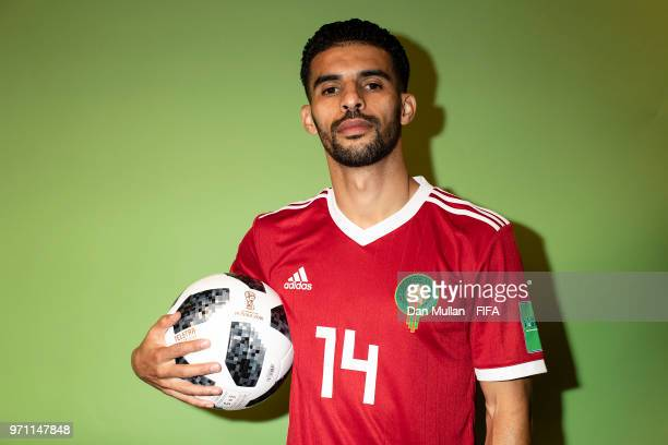 Mbark Boussoufa of Morocco poses for a portrait during the official FIFA World Cup 2018 portrait session at on June 10 2018 in Voronezh Russia