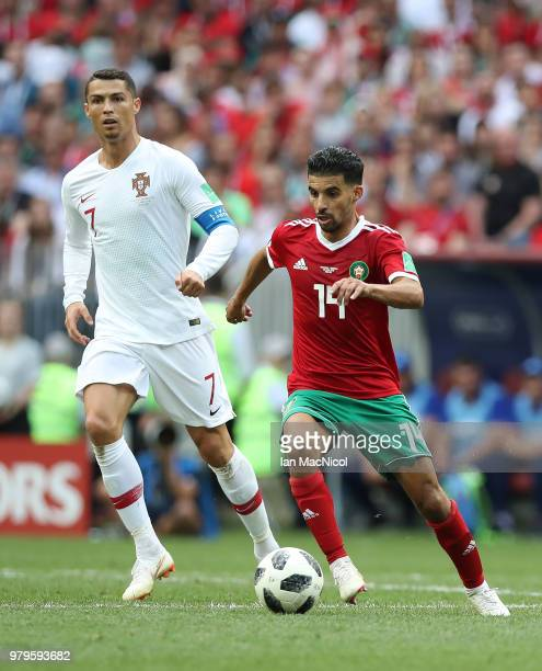 Mbark Boussoufa of Morocco runs with the ball during the 2018 FIFA World Cup Russia group B match between Portugal and Morocco at Luzhniki Stadium on...