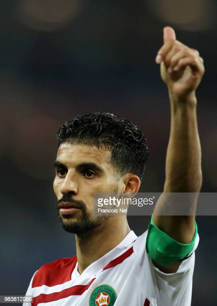 Mbark Boussoufa of Morocco shows appreciation to the fans after the 2018 FIFA World Cup Russia group B match between Spain and Morocco at Kaliningrad...
