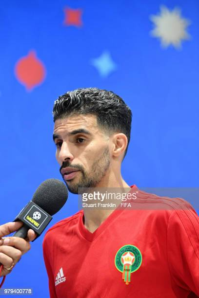 Mbark Boussoufa of Morocco talks to media following the 2018 FIFA World Cup Russia group B match between Portugal and Morocco at Luzhniki Stadium on...