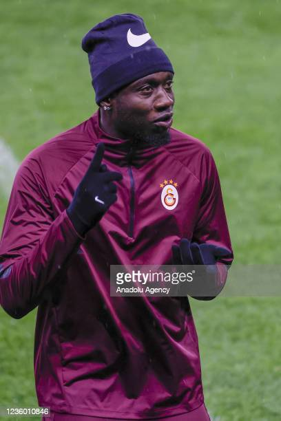 Mbaye Diagne of Galatasaray attends a training session ahead of UEFA Europa League week 3 Group E soccer match against Lokomotiv Moscow in Moscow,...
