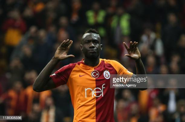 Mbaye Diagne of Galatasaray celebrates after scoring a goal during the Turkish Super Lig soccer match between Galatasaray and Evkur Yeni Malatyaspor...