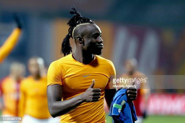 Mbaye Diagne of Galatasaray celebrates after the Turkish Super Lig soccer match between Kasimpasa and Galatasaray at Recep Tayyip Erdogan Stadium in...