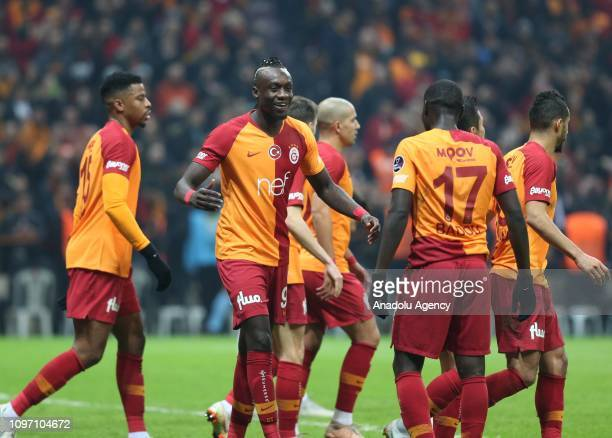Mbaye Diagne of Galatasaray celebrates with his teammates after scoring a goal during Turkish Super Lig soccer match between Galatasaray and...