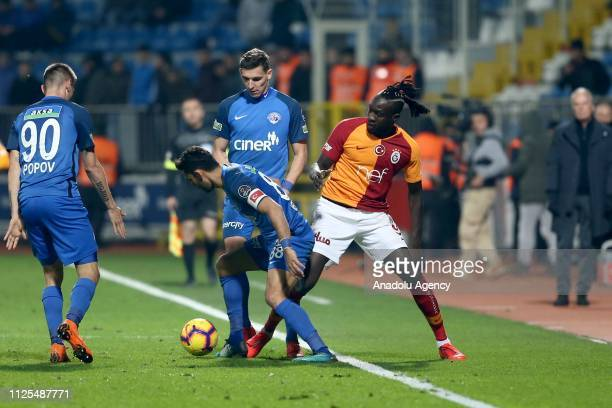 Mbaye Diagne of Galatasaray in action during the Turkish Super Lig soccer match between Kasimpasa and Galatasaray at Recep Tayyip Erdogan Stadium in...