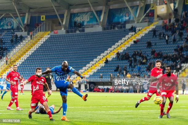 Mbaye Diagne of Kasimpasa AS scores during the Turkish Spor Toto Super Lig match between Kasimpasa AS and Antalyaspor AS at the Recep Tayyip...