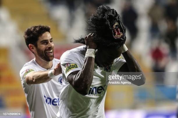 Mbaye Diagne of Kasimpasa celebrates by wearing a mask after goal during Turkish Super Lig soccer match between Kasimpasa and Besiktas at Recep...