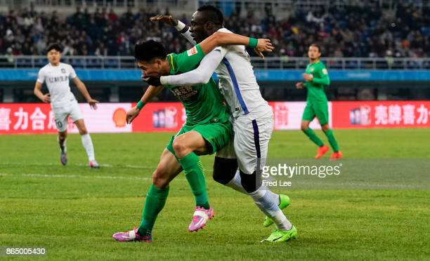 Mbaye Diagne of Tianjin Elion FC in action during the Chinese Super League match between Tianjin Elion FC and Beijing Guoan FC at Tianjin Olympic...