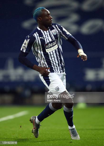 Mbaye Diagne of West Bromwich Albion during the Premier League match between West Bromwich Albion and Everton at The Hawthorns on March 4, 2021 in...