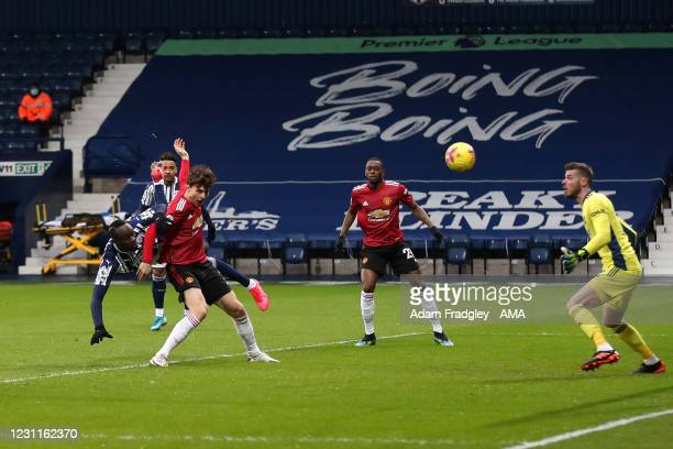 Mbaye Diagne of West Bromwich Albion scores a goal to make it 1-0 during the Premier League match between West Bromwich Albion and Manchester United...