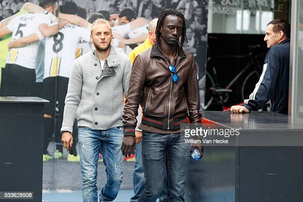 Mbaye Leye and Jordan Remacle of Sporting Lokeren pictured the day after the heart failure of Gregory Mertens during the match between KRC Genk and...