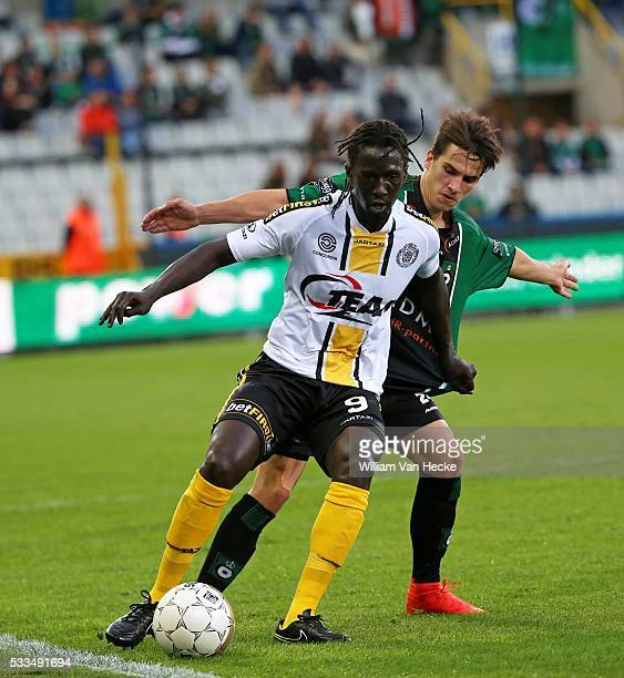 Mbaye Leye en Dennes De Kegel during the Jupiler Pro League match between Cercle Brugge KSV and KSC Lokeren on August 24 2014 at the Jan Breydel...