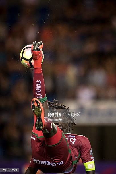 Mbaye Leye forward of SV Zulte Waregem and Sebastien Dewaest defender of KRC Genk pictured during the Jupiler Pro League match between KRC Genk and...