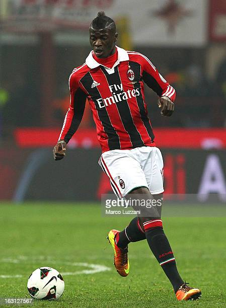 Mbaye Niang of AC Milan in action during the Serie A match between AC Milan and SS Lazio at San Siro Stadium on March 2 2013 in Milan Italy