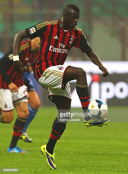 Mbaye Niang of AC Milan in action during the Serie A match between AC Milan and Udinese Calcio at Giuseppe Meazza Stadium on October 19 2013 in Milan...