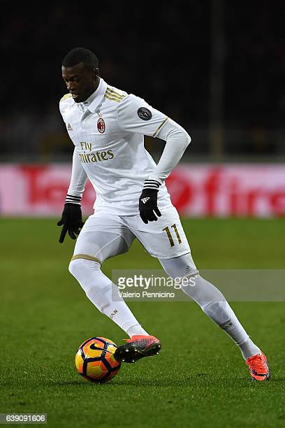 Mbaye Niang of AC Milan in action during the Serie A match between FC Torino and AC Milan at Stadio Olimpico di Torino on January 16 2017 in Turin...