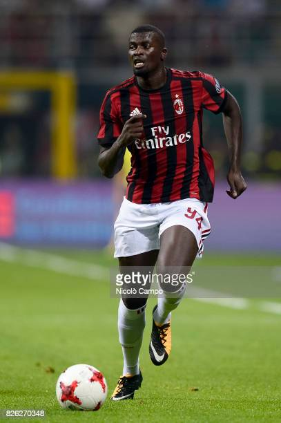 MBaye Niang of AC Milan in action during the UEFA Europa League qualifier football match between AC Milan and CSU Craiova AC Milan wins 20 over CSU...