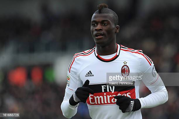 Mbaye Niang of AC Milan looks on during the Serie A match between Cagliari Calcio and AC Milan at Stadio Is Arenas on February 10 2013 in Cagliari...