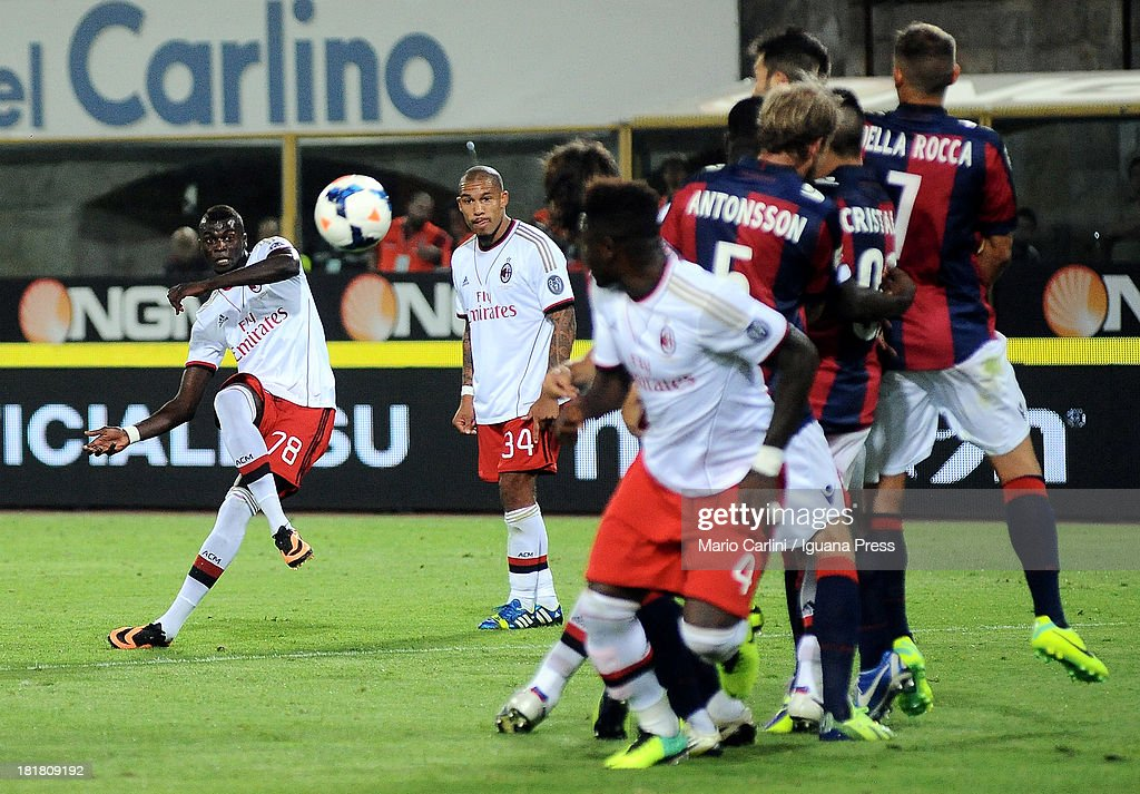 Mbaye Niang # 78 of AC MIlan takes a free kick during the Serie A match between Bologna and AC Milan at Stadio Renato Dall'Ara on September 25, 2013 in Bologna, Italy.