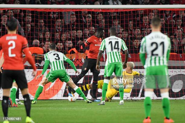 Mbaye Niang of Rennes scores a goal during the UEFA Europa League Round of 32 First Leg match between Rennes and Real Betis at Roazhon Park on...