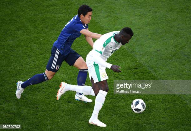 Mbaye Niang of Senegal battles for possession with Gen Shoji of Japan during the 2018 FIFA World Cup Russia group H match between Japan and Senegal...
