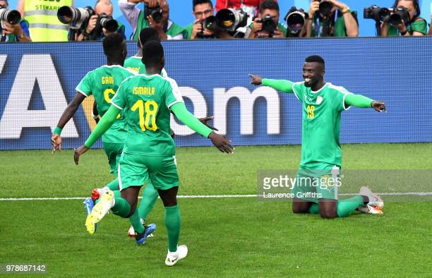 Mbaye Niang of Senegal celebrates after scoring his team's second goal during the 2018 FIFA World Cup Russia group H match between Poland and Senegal...