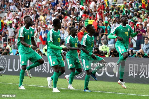 Mbaye Niang of Senegal celebrates with teammates after scoring his team's second goal during the 2018 FIFA World Cup Russia group H match between...