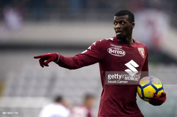 MBaye Niang of Torino FC gestures during the Serie A football match between Torino FC and Bologna FC Torino FC won 30 over Bologna FC