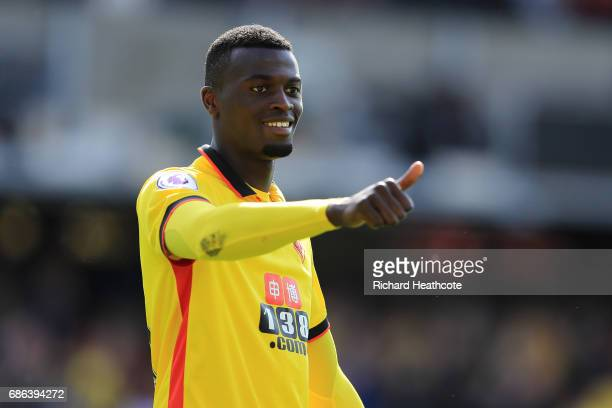 Mbaye Niang of Watford applaudes the crowd after the Premier League match between Watford and Manchester City at Vicarage Road on May 21 2017 in...