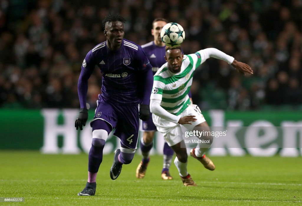 Mbodji Kara of RSC Anderlecht and Moussa Dembele of Celtic in action during the UEFA Champions League group B match between Celtic FC and RSC Anderlecht at Celtic Park on December 5, 2017 in Glasgow, United Kingdom.
