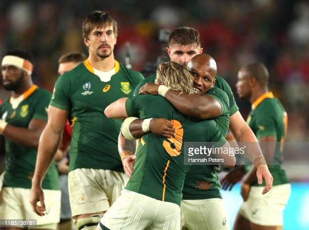 Mbongeni Mbonambi of South Africa during the Rugby World Cup 2019 SemiFinal match between Wales and South Africa at International Stadium Yokohama on...