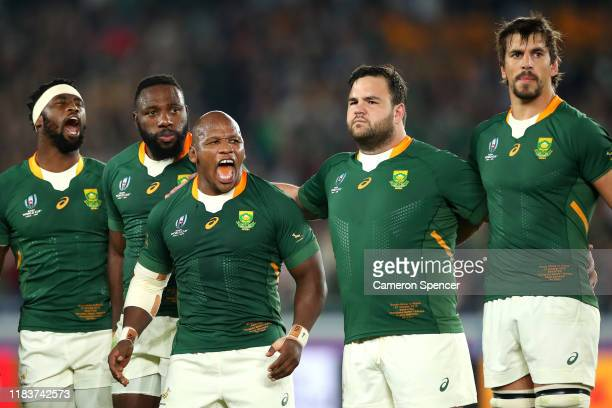 Mbongeni Mbonambi of South Africa his emotion following the South African national anthem during the Rugby World Cup 2019 SemiFinal match between...