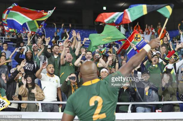 Mbongeni Mbonambi of South Africa waves to fans after his team defeated Wales 1916 in the Rugby World Cup semifinals on Oct 27 in Yokohama near Tokyo