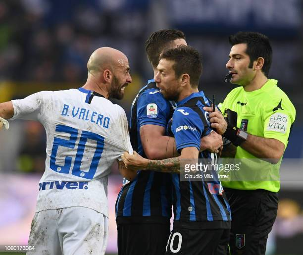 MBorja Valero of FC Internazionale reacts during the Serie A match between Atalanta BC and FC Internazionale at Stadio Atleti Azzurri d'Italia on...