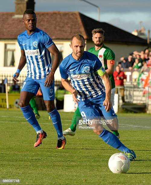 Mbwana Ally Samatta forward of Krc Genk and Bennett pictured during UEFA Europa League third qualifying round 2nd Leg match between Cork City FC and...