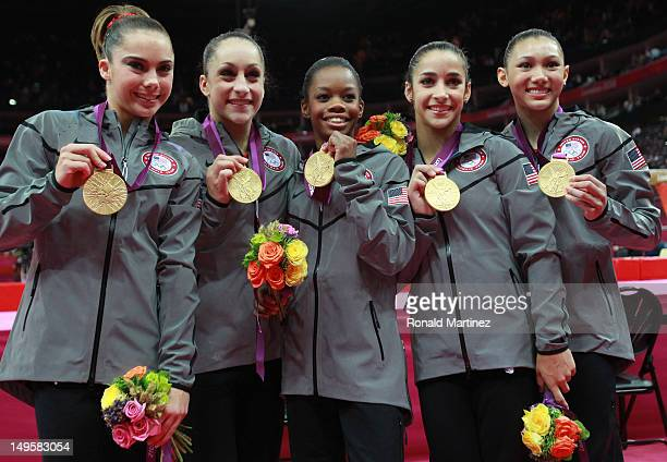 Mc Kayla Maroney, Jordyn Wieber, Gabrielle Douglas, Alexandra Raisman and Kyla Ross of the United States celebrate after winning the gold medal in...