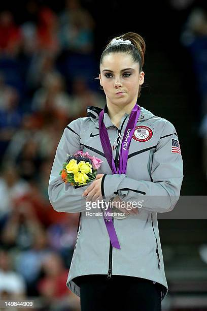 Mc Kayla Maroney of the United States stands on the podium with her silver medal during the medal ceremony following the Artistic Gymnastics Women's...