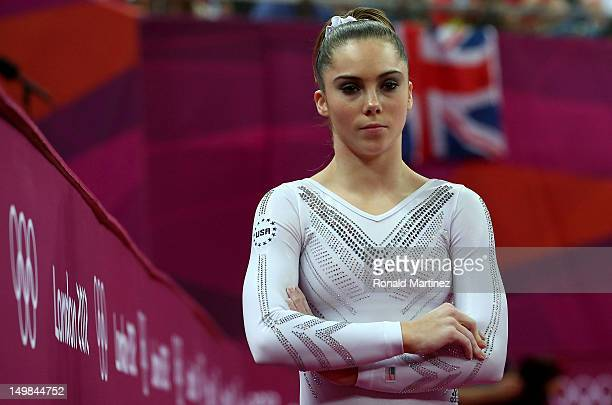 Mc Kayla Maroney of United States looks on during the Artistic Gymnastics Women's Vault final on Day 9 of the London 2012 Olympic Games at North...