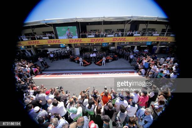 Mc Laren`s F1 race Team pose for photo before the final race of F1 GP Brazil at the Jose Carlos Pace racetrack in Sao Paulo Brazil on November 12 2017