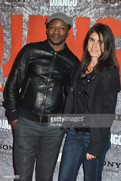 Mc Solaar and a guest attend the 'Django Unchained' Paris premiere red carpet arrival at Le Grand Rex on January 7 2013 in Paris France