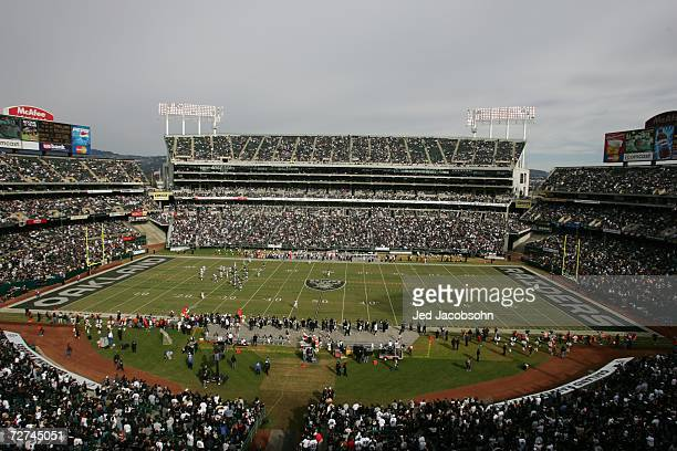 McAfee Coliseum is shown during the Oakland Raiders game against the Denver Broncos at McAfee Coliseum on November 12 2006 in Oakland California The...