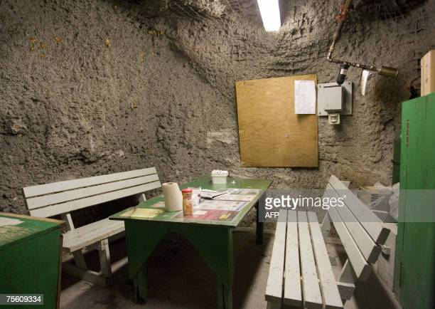 McArthur River, CANADA: The inside of a refuge station used to shelter miners in case of an emergency is pictured at Areva Resources 17 July 2007 in...