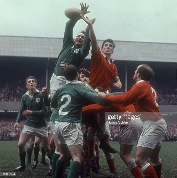 McBRIDE PALMS THE BALL IN A LINE OUT DURING THE GAME Mandatory Credit Allsport Hulton/Archive