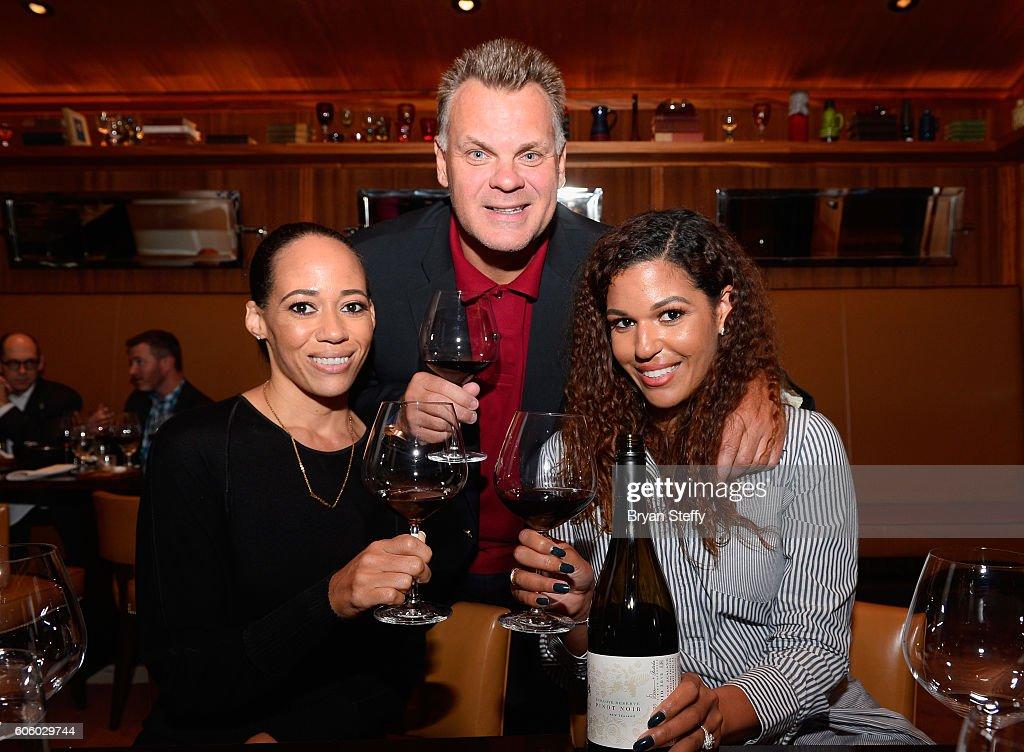McBride Sisters Wine Co-Owner Robin McBride, chef Francois Payard and McBride Sisters Wine Co-Owner Andrea McBride attend the Las Vegas Food & Wine Festival at Bazaar Meat at SLS Las Vegas Hotel on September 15, 2016 in Las Vegas, Nevada.