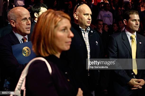 McCain campaign spokesperson Nicole Wallace chief campaign strategist Steve Schmidt watch as Republican presidential nominee Sen John McCain...