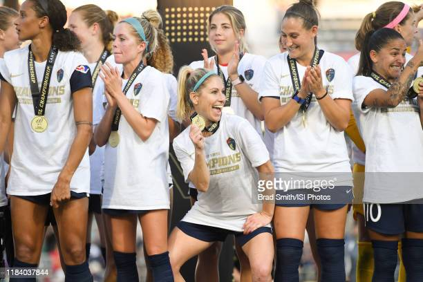 McCall Zerboni of the North Carolina Courage celebrates after the match between Chicago Red Stars and North Carolina Courage at Sahlen's Stadium at...
